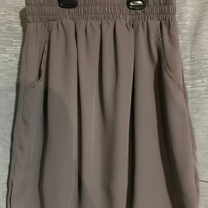 Gray/Brown Pocket Skirt